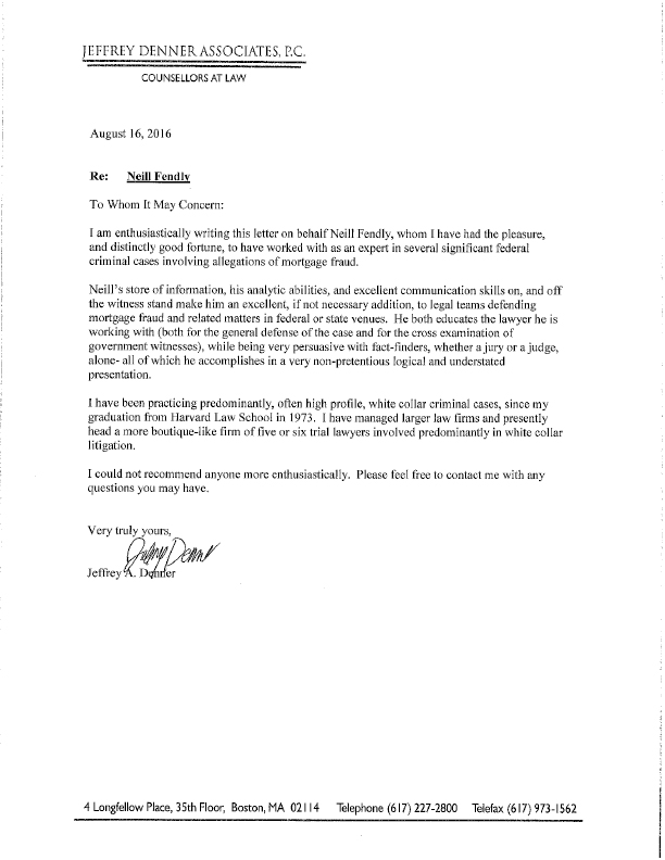 Neill Fendly Mortgage Defense Recommendation Letter